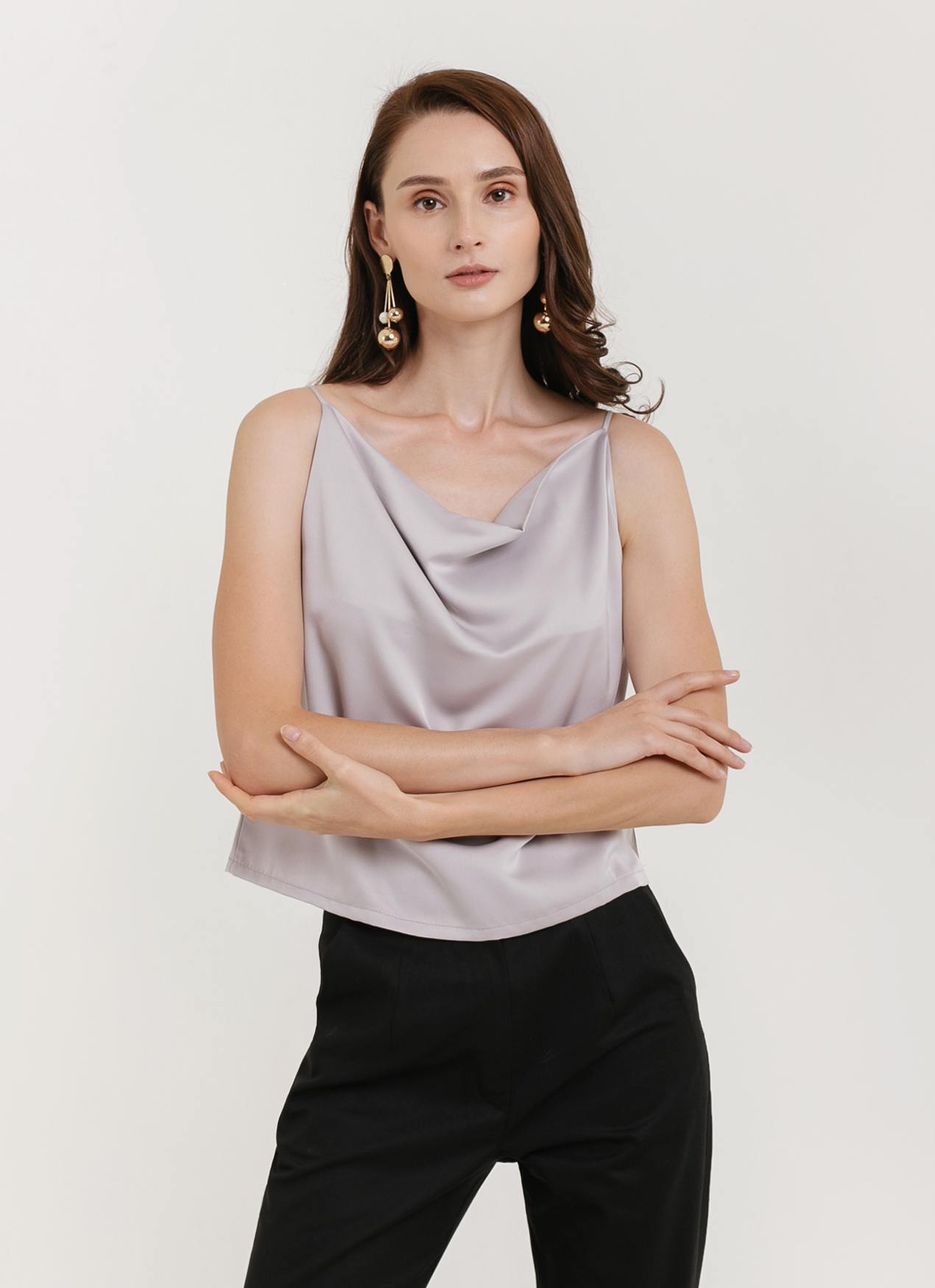 CLOTH INC Drapery Tank Top - Gray