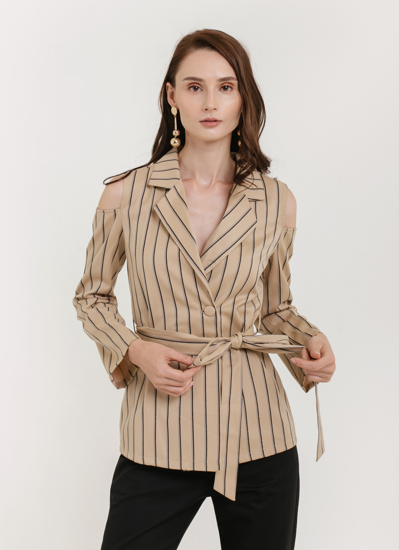 CLOTH INC Cold Shoulder Stripe Top - Brown Stripe