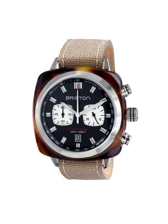 BRISTON Briston Clubmaster Sport Acetate Chronograph Khaki With Black Dial 42mm