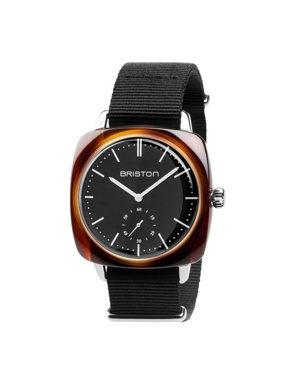 BRISTON Briston Clubmaster Vintage Acetate Small Second Tortoise Black Strap With Black Dial 40mm
