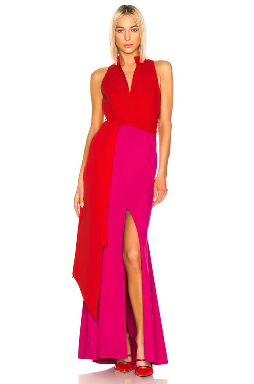 Brandon Maxwell Split Neck Gown