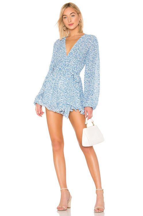 C/MEO So Settled Romper In Blue Abstract Floral