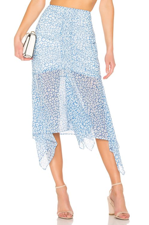 C/MEO So Settled Skirt In Blue Abstract Floral