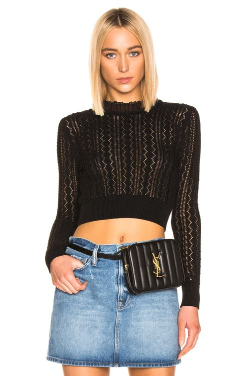 ALEXACHUNG Cropped Crew Neck Sweater