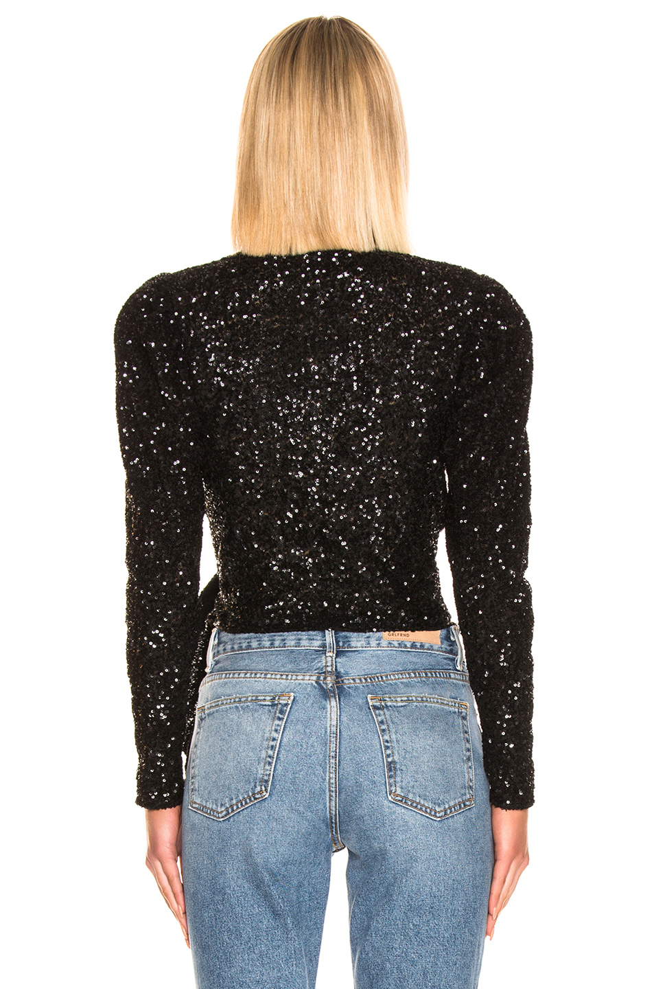 ATTICO Long Sleeve Sequined Wrap Top