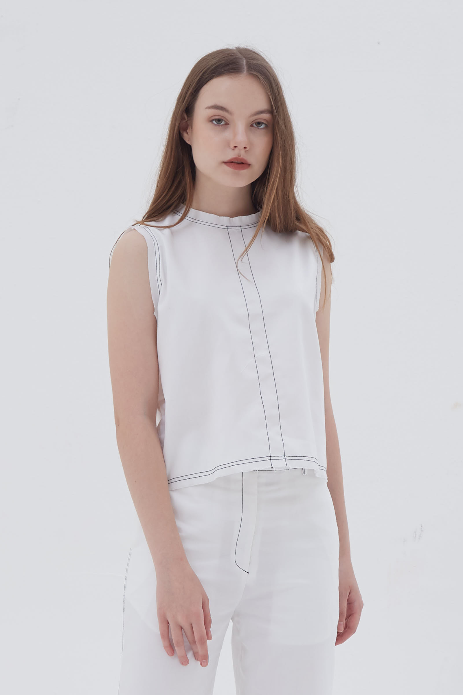 Shopatvelvet Contrast Line Top White