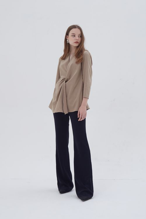 Shopatvelvet Croix Two Way Blouse Beige Suede