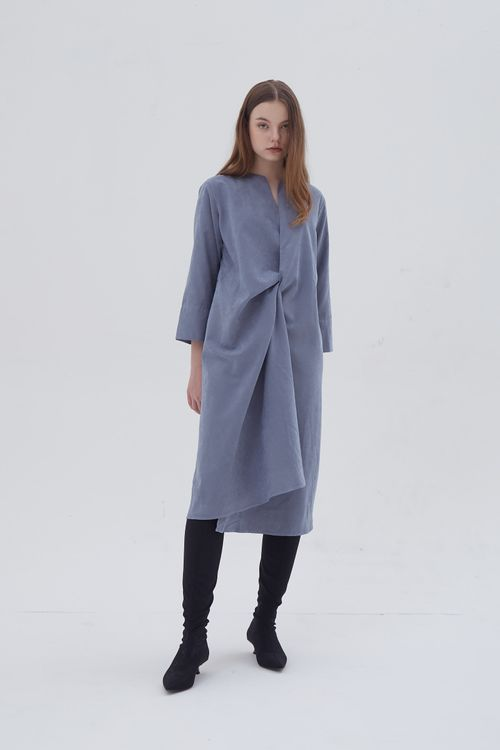 Shopatvelvet Croix Two Way Dress Blue Suede
