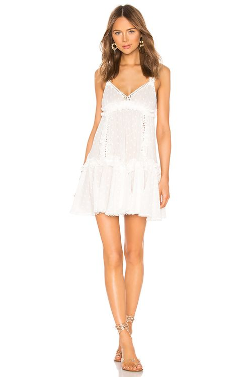 CHIO Ruffles and Lace Mini Dress