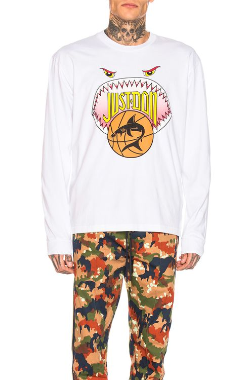 Just Don Shark Mouth Long Sleeve Graphic Tee