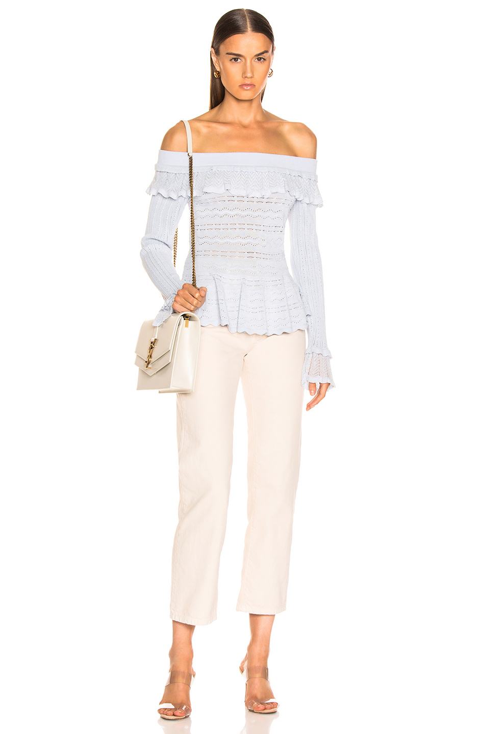 JONATHAN SIMKHAI Lacey Applique Off Shoulder Top
