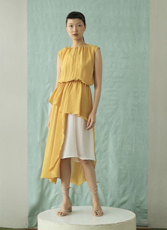 Eesome Sienna Dress - Yellow-White