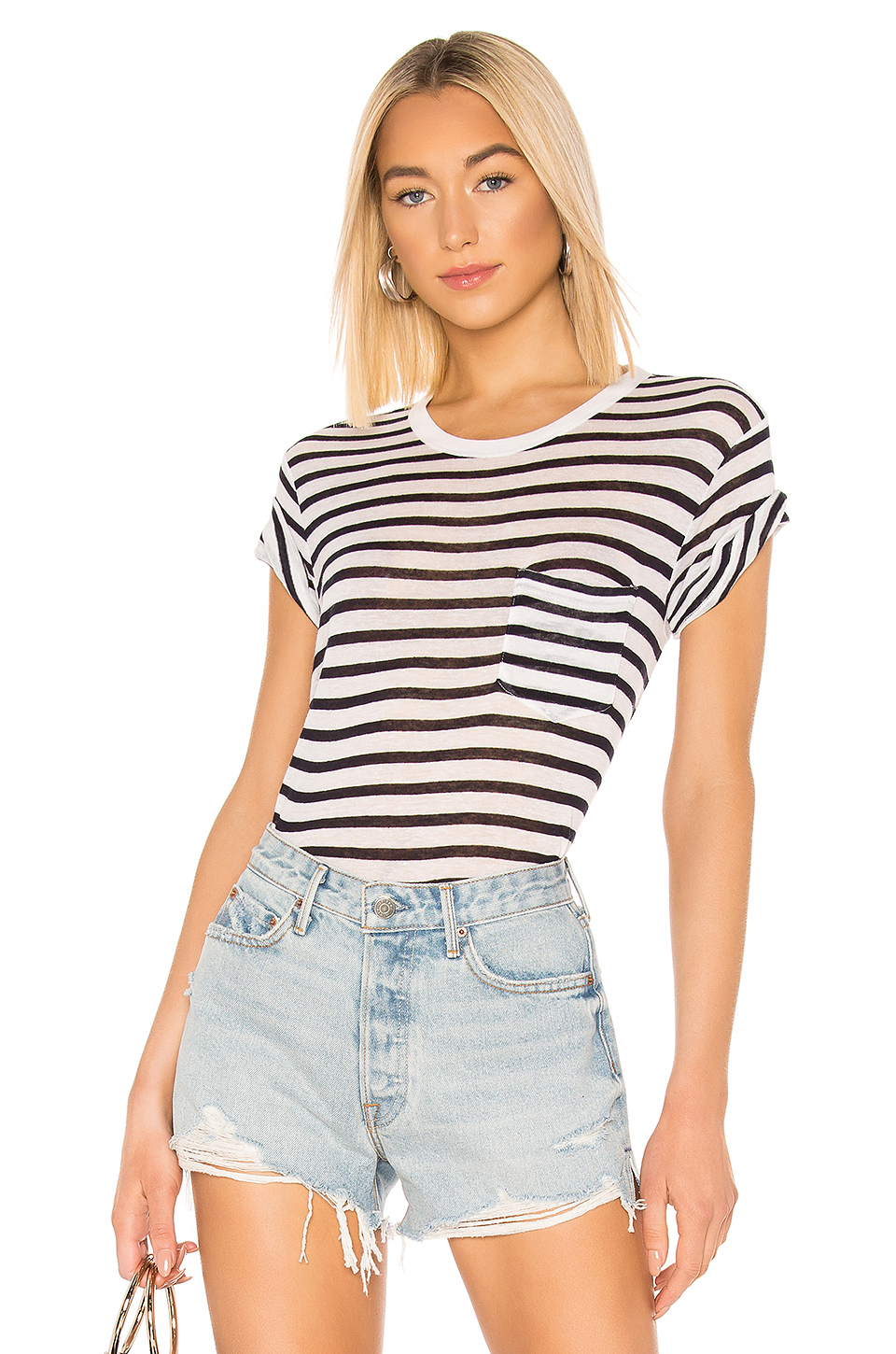 0149fbee3529 ... T by Alexander Wang Classic Striped Slub Jersey Short Sleeve With Pocket  Tee ...