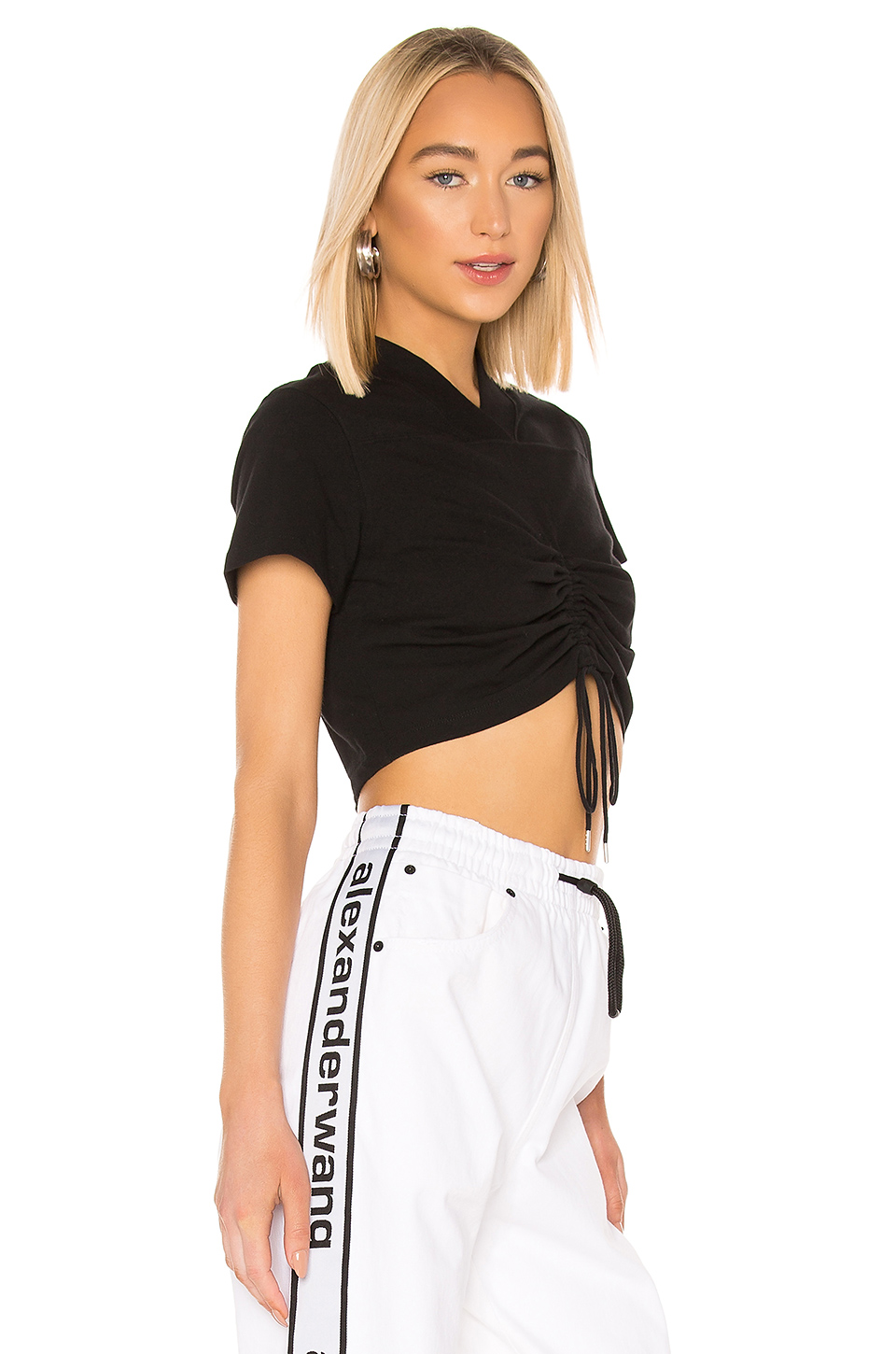 204ea6ddff0a Jual T by Alexander Wang High Twist Jersey Ruched V Neck Tee ...