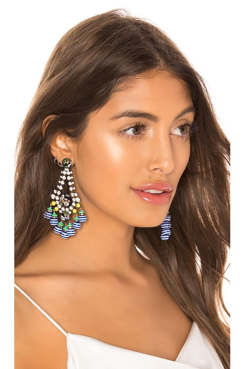 Elizabeth Cole Beaded Dangle Teardrop Earrings