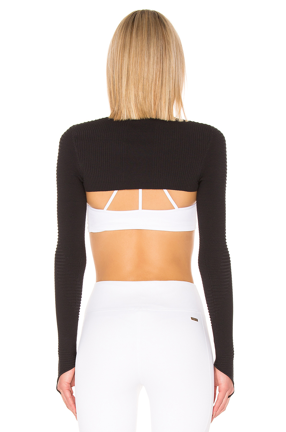 Adam Selman Rib Knit Sport Shrug Top