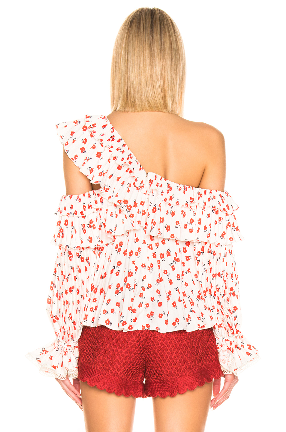 self-portrait One Shoulder Ditsy Printed Top