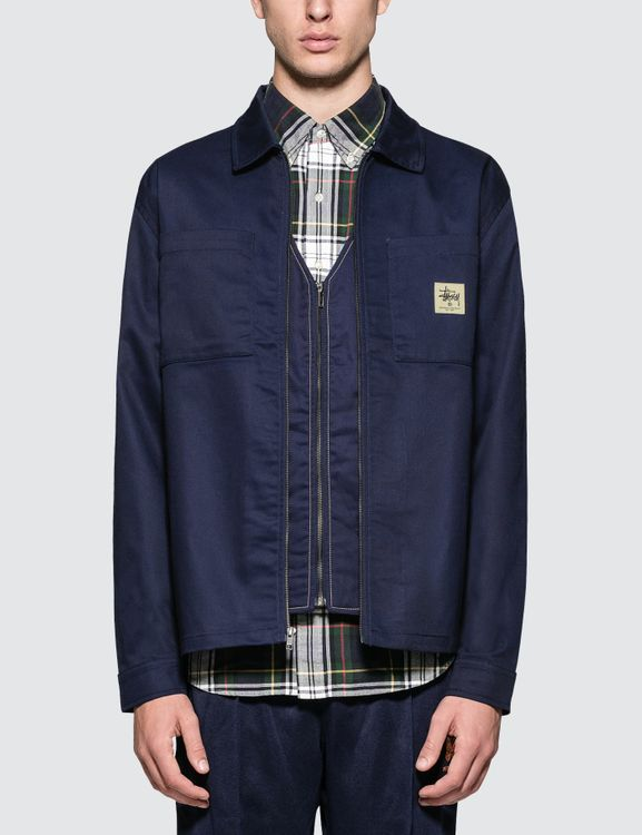 Stussy Poly Cotton Zip Up L/S Shirt