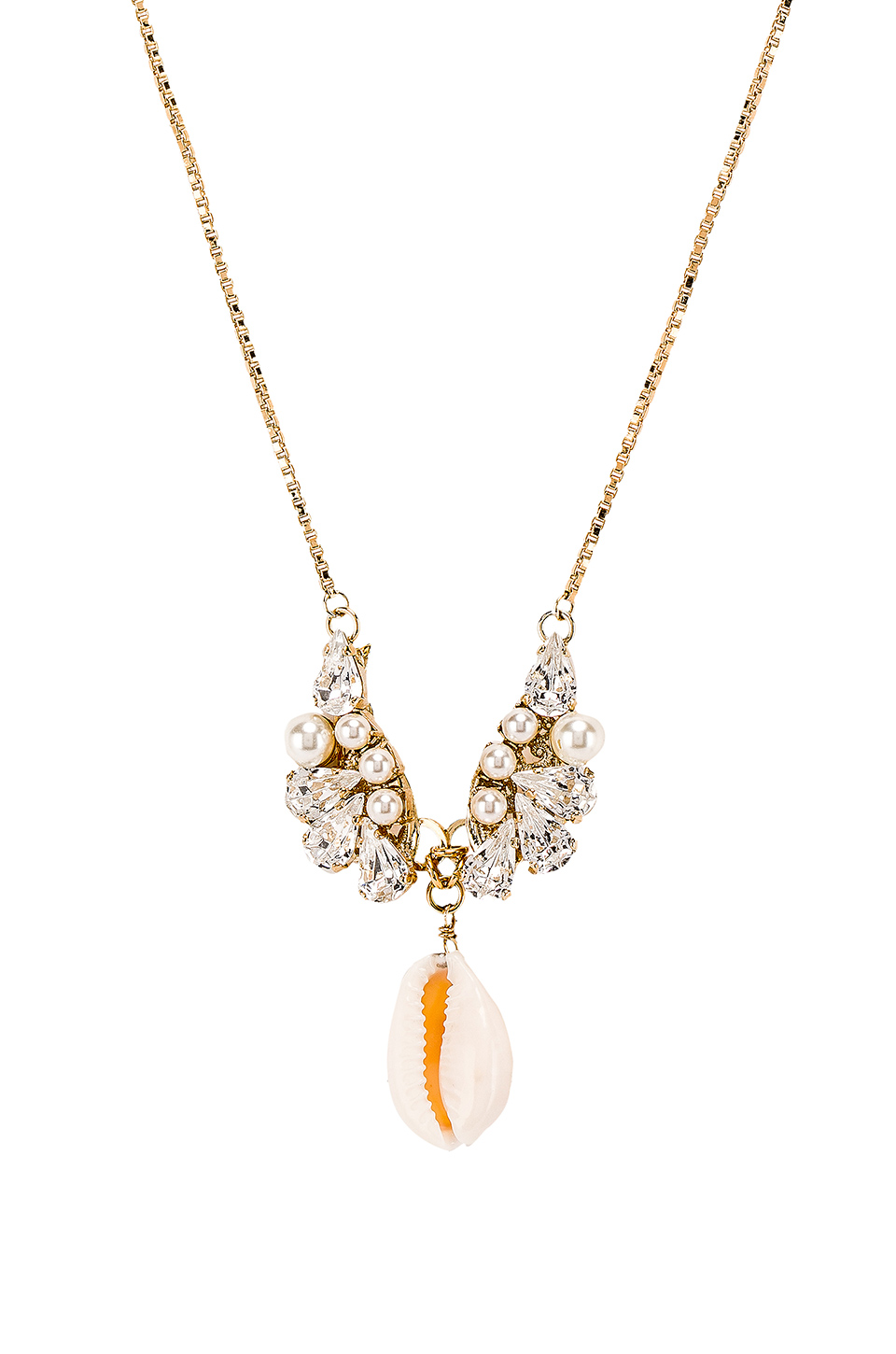 Anton Heunis Crystal Cluster Shell Pendant Necklace