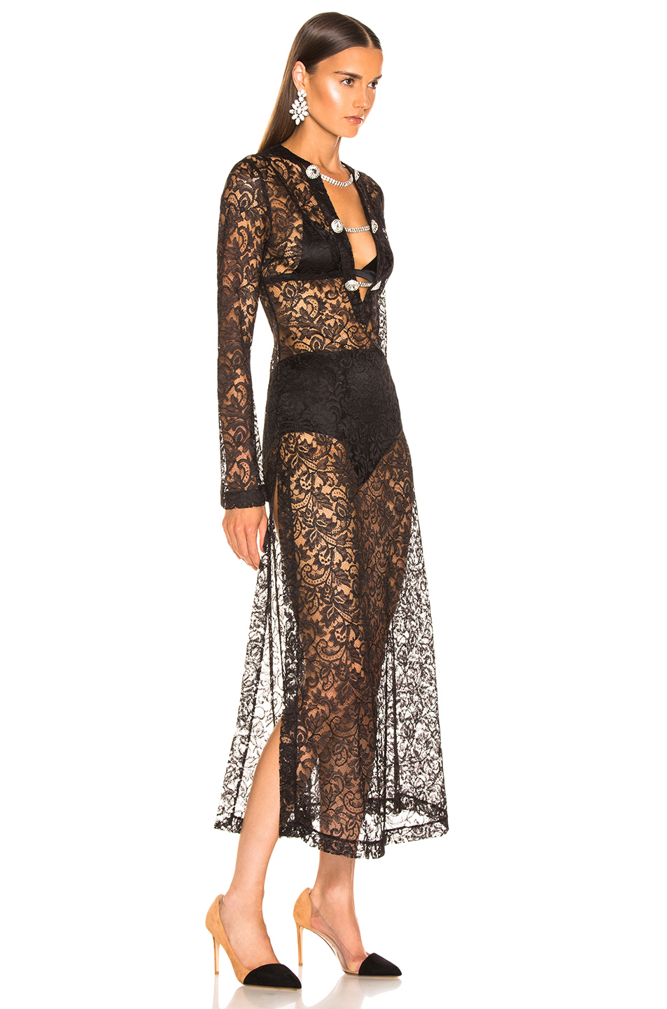 Alessandra Rich Crystal Button Lace Dress