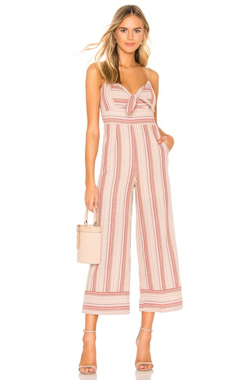 J.O.A. Striped Linen Tie Front Jumpsuit