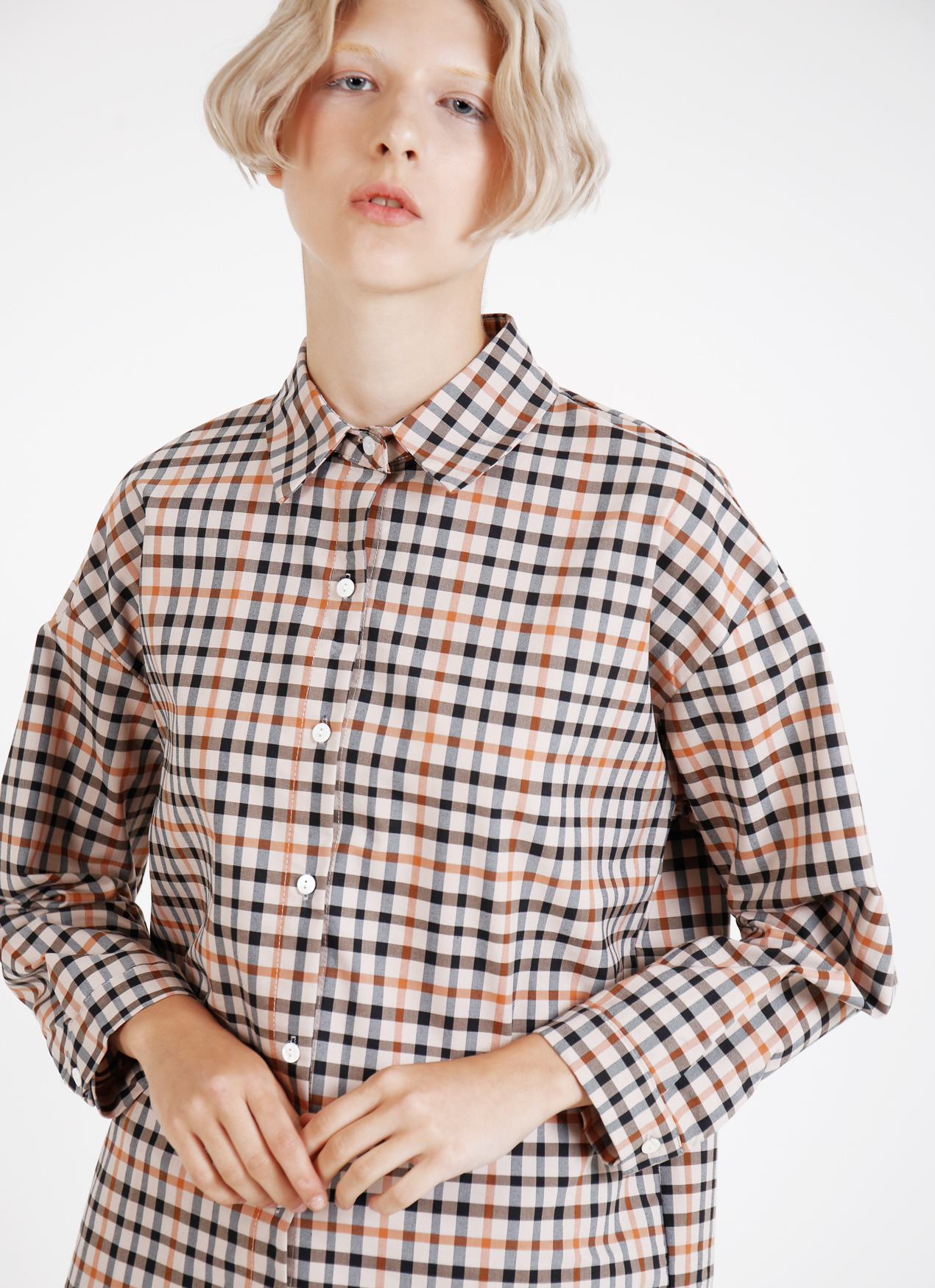 BOWN Rachel Top - Plaid Beige
