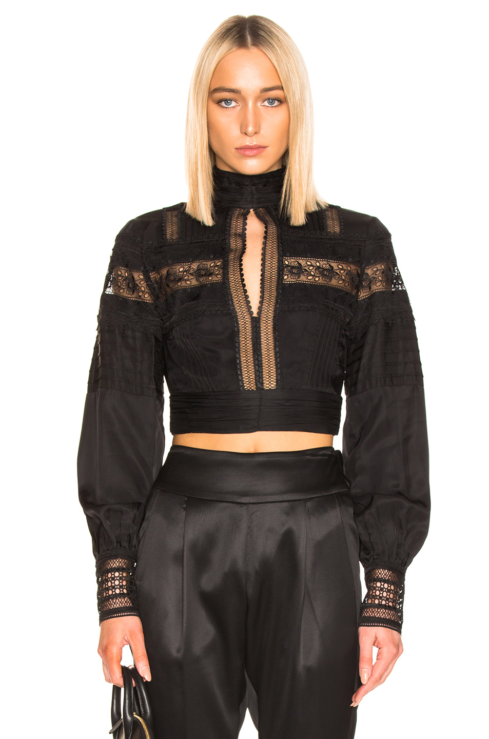 self-portrait Lace Trimmed Top