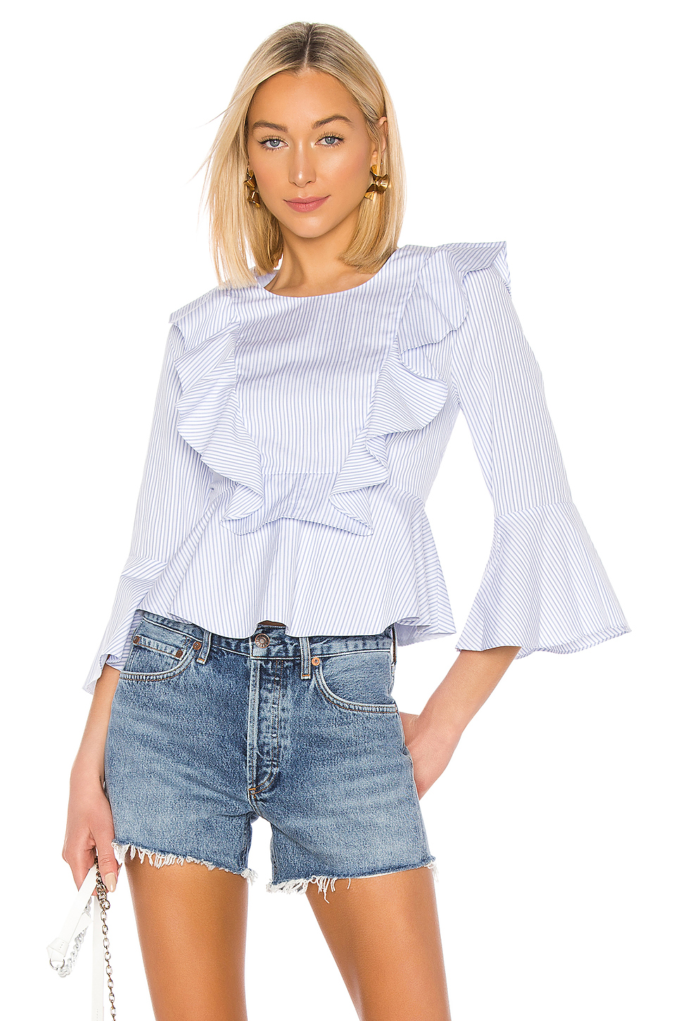 BCBGMAXAZRIA Striped Ruffle Top