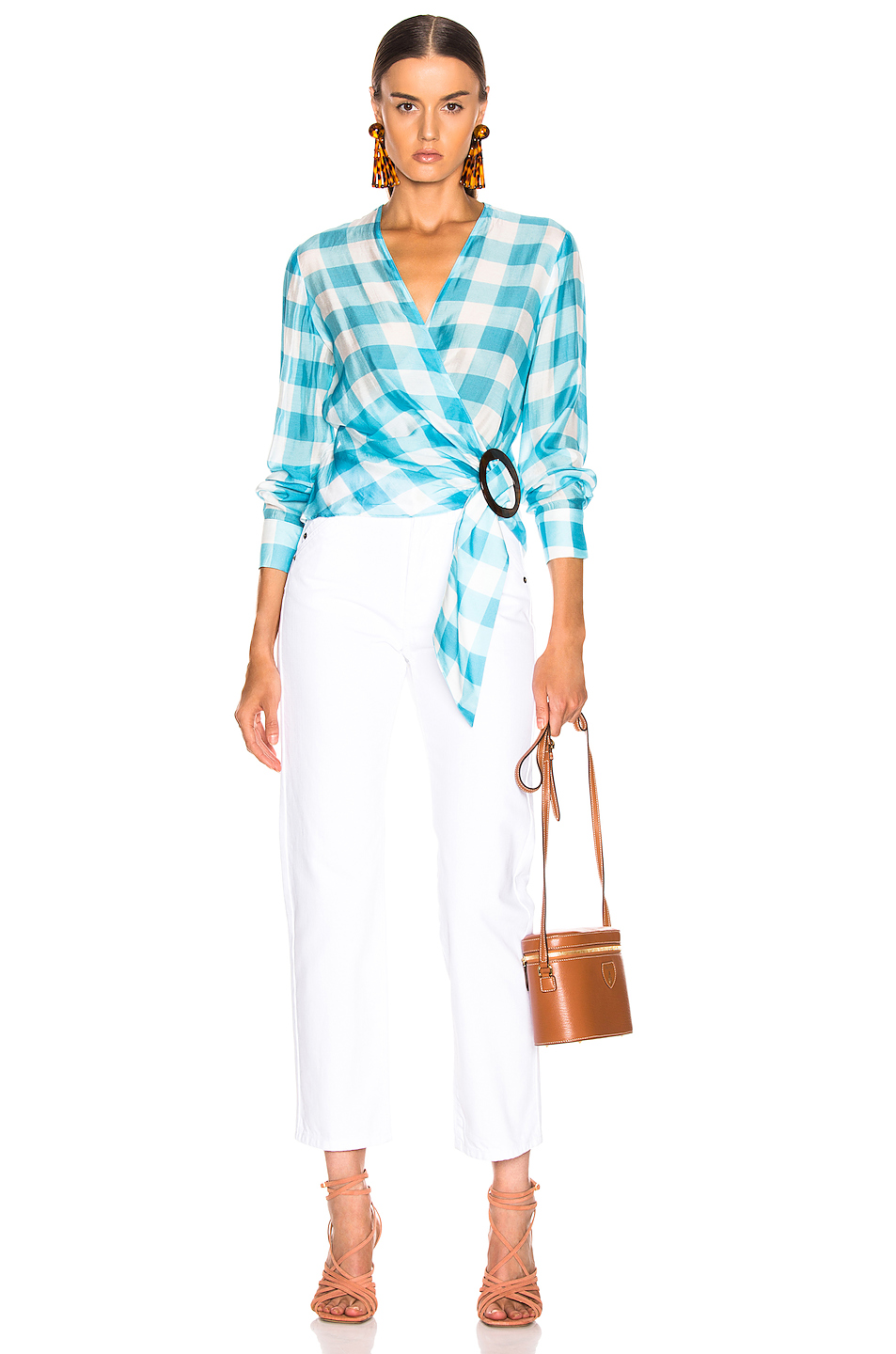 ADRIANA DEGREAS Vichy Cross Front Shirt With Hoop