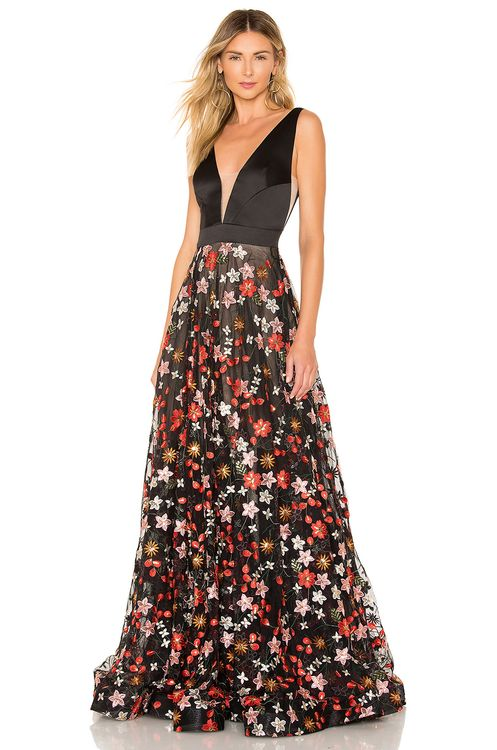 Bronx and Banco Embroidered Floral Gown