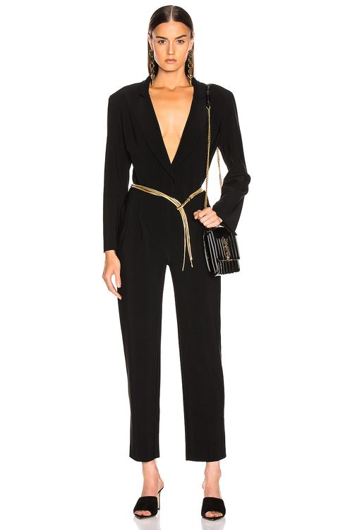 Norma Kamali Single Breasted Tapered Leg Jumpsuit