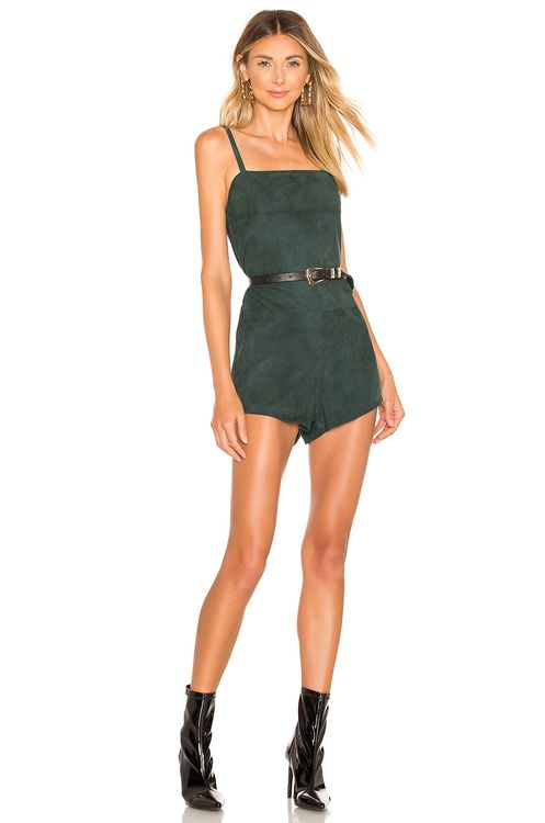 Understated Leather Suede Romper