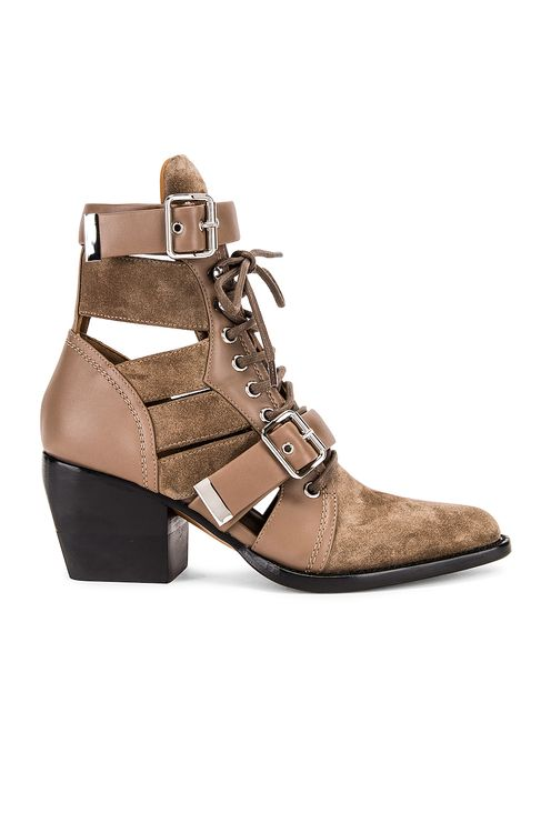 Chloé Rylee Suede & Leather Lace Up Booties