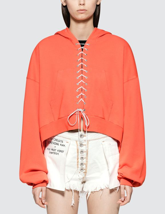 Unravel Project French Terry Lace Up Hoodie Faded Orange