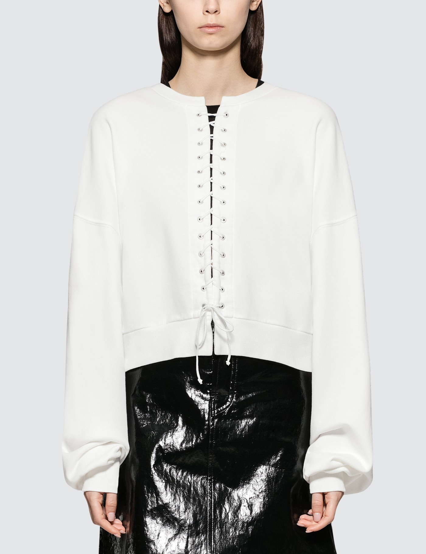 Unravel Project French Terry Lace Up Crewneck White No C