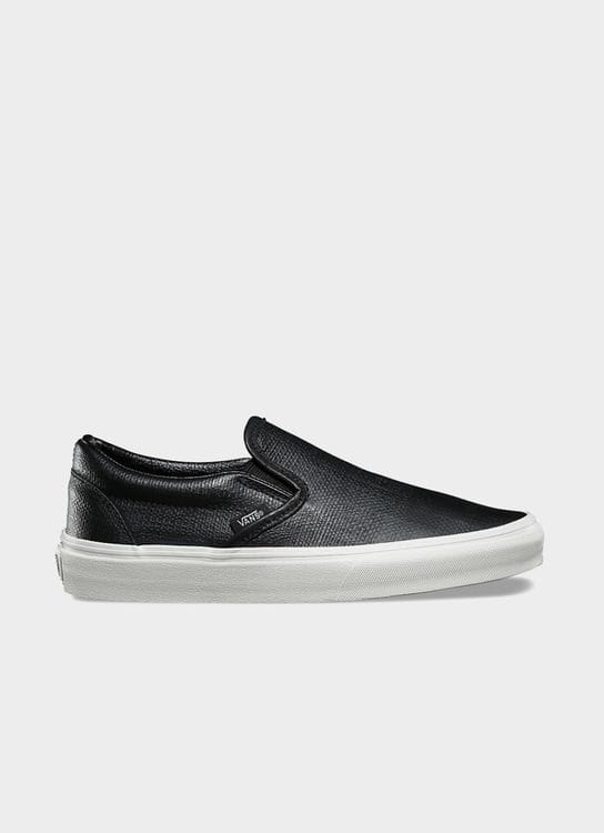 Vans Black Embossed Leather UA Classic Slip On (W)