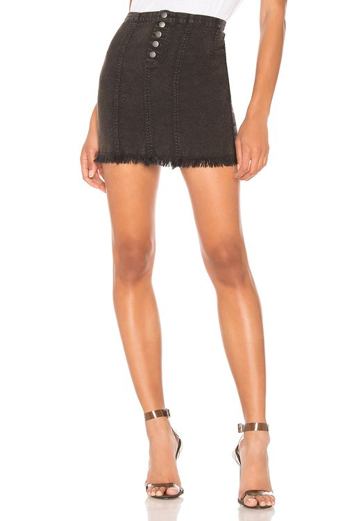 Chaser Button Front Frayed Mini Skirt