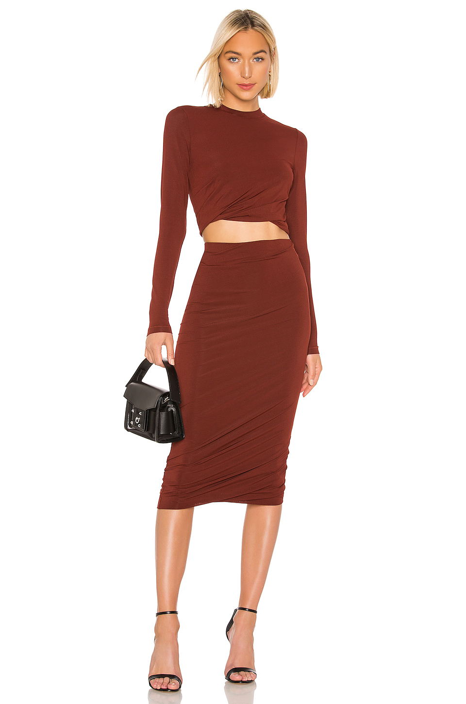 T by Alexander Wang Crepe Jersey Twisted Long Sleeve Top
