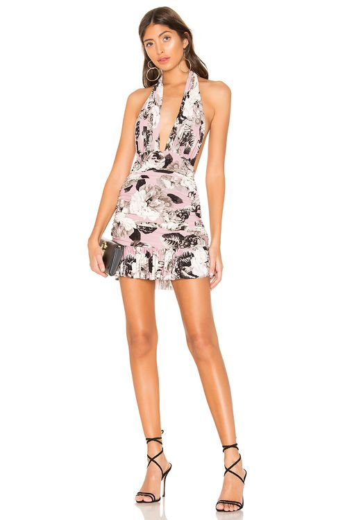 Norma Kamali Ruffle Halter Mio Mini Dress