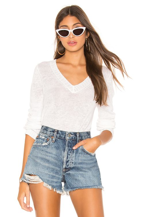 White + Warren Pointelle Rib V Neck