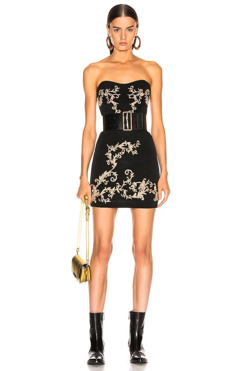 Redemption Gold Embroidered Mini Dress