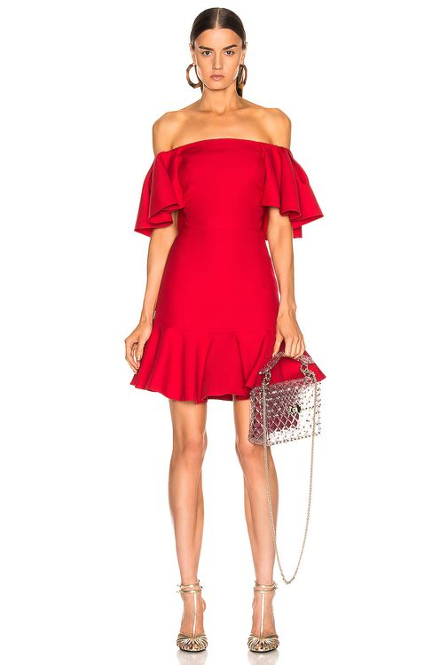 Valentino Off the Shoulder Ruffle Dress