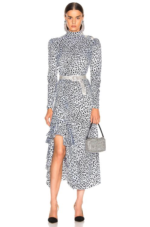 Alessandra Rich Leopard Ruffle Dress