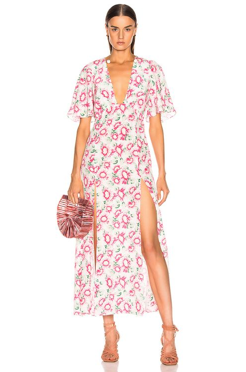 Les Reveries Deep Neck Petal Sleeve Dress