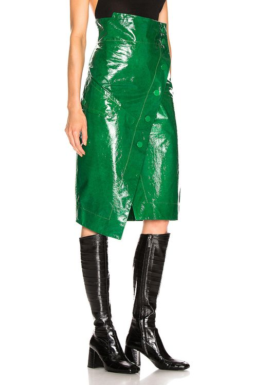 Petar Petrov Renae Patent Leather Wrap Skirt