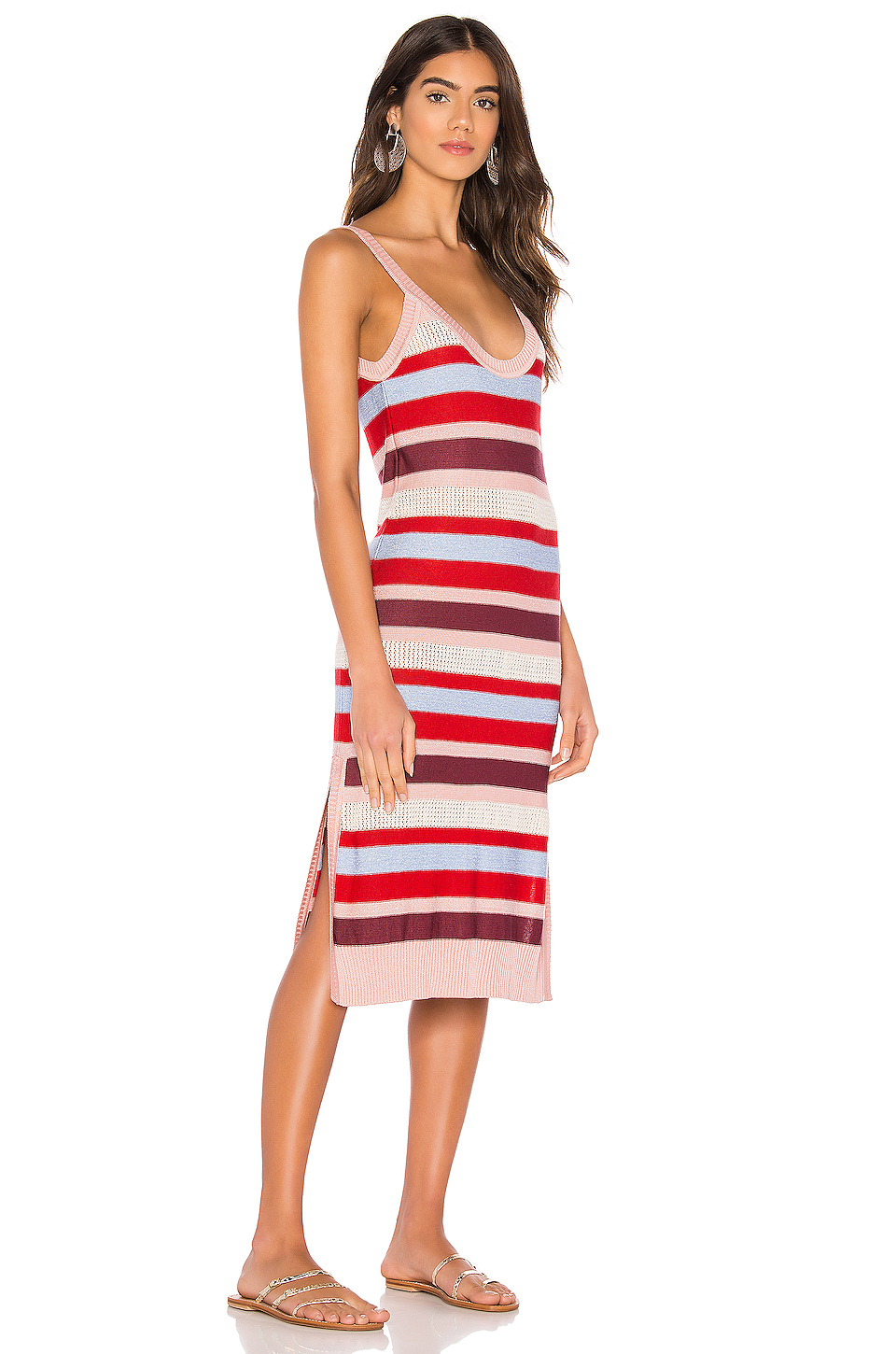 Suboo Midsummer Knitted Stripe Midi Dress