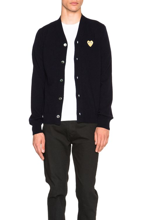 Comme Des Garcons PLAY Cardigan with Gold Emblem