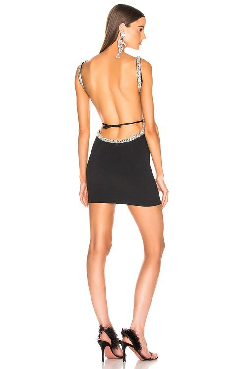Alessandra Rich Crystal Embellishment Open Back Mini Dress