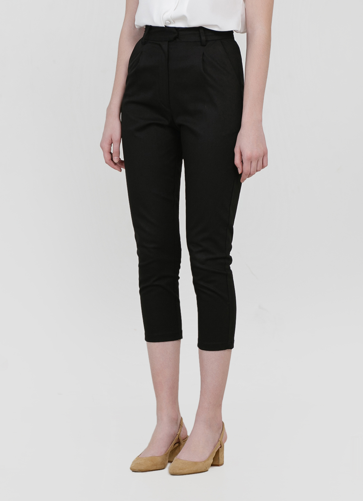 CLOTH INC Yara Cropped Slim Pants - Black