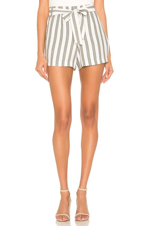 1. STATE Flat Front Regancy Stripe Tie Waist Short